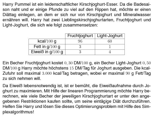 Mathe Aufgaben Lineare Algebra Lineare Optimierung Simplex ...